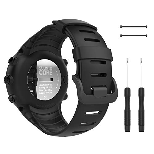 """MoKo Suunto Core Watch Band, Classic Replacement Soft Wrist Band Strap with Metal Clasp for Suunto Core Smart Watch, Fits 5.51""""-9.06"""" (140mm-230mm) Wrist, All Black"""