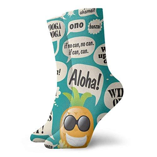Adamitt Calcetines unisex con lemas hawaianos Calcetines deportivos casuales Calcetines cómodos transpirables