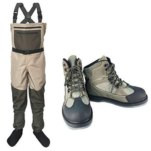 LSZHXL Pantalones de vadeo para vadeadores de Pesca al Aire Libre Conjunto Botas de vadeo Impermeables y Transpirables Pantalones de Pesca Vadeadores de Pecho Botas de Suela de Fieltro Pantalones