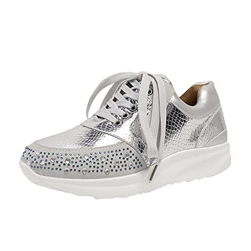 URIBAKY - Zapatillas de senderismo para mujer, con cordones transpirables, elegantes, suaves y cómodas, para exteriores, fitness, senderismo, plata, 41 EU