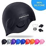 TOPLUS Swim Cap, Durable Silicone Swimming Cap Cover Ears, 3D Ergonomic Design Swimming Caps for Women Kids Men Adults Boys Girls with Nose Clip & Earplugs