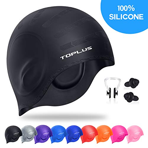TOPLUS Swim Cap, Durable Silicone Swimming Cap Cover Ears, 3D Ergonomic Design Swimming Caps for Women Kids Men Adults Boys Girls with Nose Clip & Earplugs