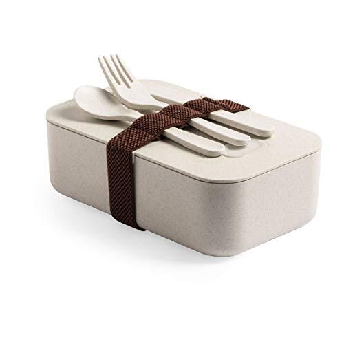 Fiambrera ecológica con cubiertos, fiambrera con cubiertos, táper biodegradable, sandwichera de bambú, tupper con accesorios, Uvimark