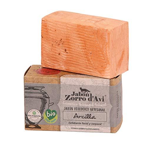 Jabón Zorro D'Avi | Jabón Natural Ecológico de Arcilla | 120 gr | Exfoliante para Pieles Grasas | Jabón Biodegradable Zero Waste | Jabón Corporal, Facial y Capilar | Fabricado en España