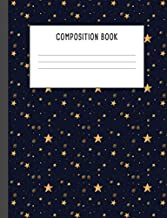 Composition Book: Starry Night Sky Golden Yellow Stars Blue Pattern Notebook, 200 pages College ruled (7.44 x 9.69)