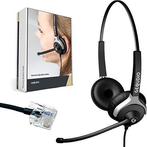 GEQUDIO Headset kompatibel mit Unify OpenStage 30 40 80 80 und OpenScape Serie Telefon - inklusive RJ Kabel - Kopfhörer & Mikrofon mit Ersatz Polster - besonders leicht 80g (2-Ohr)