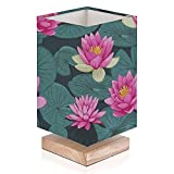 Bedside Lamp Seamless Pink Water Lilly Lotus Flowers with Green Leaves on Water Modern Small Table Desk Lamp Nightstand Lamp for Bedroom Living Room Solid Wood Base Flaxen Fabric Shade Gift