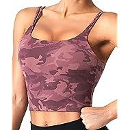 CELER Women's Padded Sports Bra Double Longline Crop Tank Top Fitness Yoga Workout Top