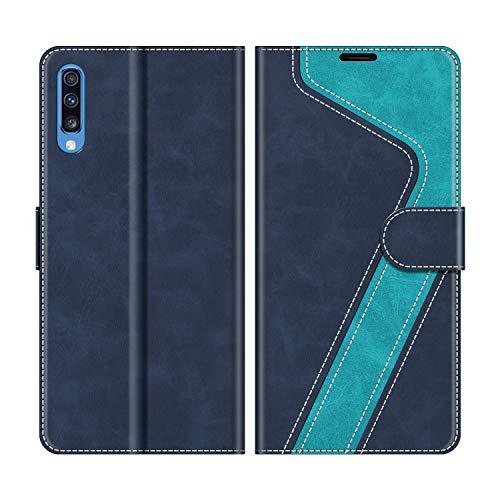 MOBESV Handyhülle für Samsung Galaxy A70 Hülle Leder, Samsung Galaxy A70 Klapphülle Handytasche Hülle für Samsung Galaxy A70 Handy Hüllen, Modisch Blau