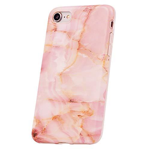 QULT Carcasa para Móvil Compatible con iPhone 8 iPhone 7 Funda marmol Rosa Silicona Flexible Bumper Teléfono Caso para iPhone 7/8 Marble Pink