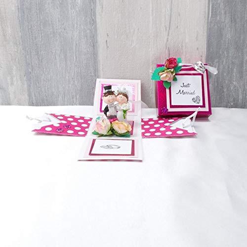 Explosionsbox Hochzeit, Explosionsbox, Hochzeitsgeschenk, Geldgeschenk Hochzeit, Geldgeschenk, rosa weiß gepunktet