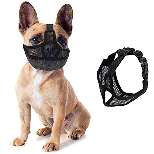 Fuzilin Short Snout Dog Muzzle,Adjustable Bulldog Mask Breathable Mesh Dogs Muzzles,Anti Biting Barking and Licking Chewing,Training Dog Mask for Bull Dogs,Pugs,Shar-Pei,Chihuahua Dogs (M)