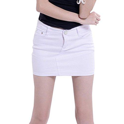 Cayuan Mujer Falda De Mezclilla con Bolsillo Mini Vaquera Faldas Bodycon Elasticidad Lápiz Jeans Falda Blanco