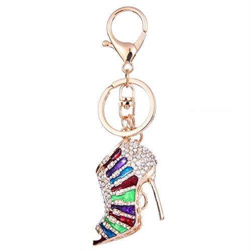 YAZILIND llavero anillo sexy tacones altos talones de diamantes de imitación de las niñas accesorios colgante colgante ornamentos (color)