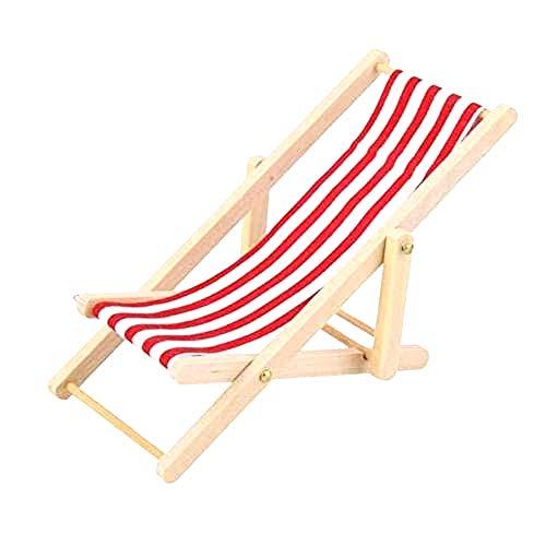 Fairy Fantasy Mini-Retro-Liegestuhl, Maßstab: 1:12, klappbar, für den Feengarten, Rot und Weiß gestreift