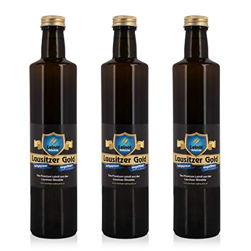3 x Lausitzer Leinöl - Lausitzer Gold (kaltgepresstes ungefiltertes Premium Leinöl), 3x 500ml