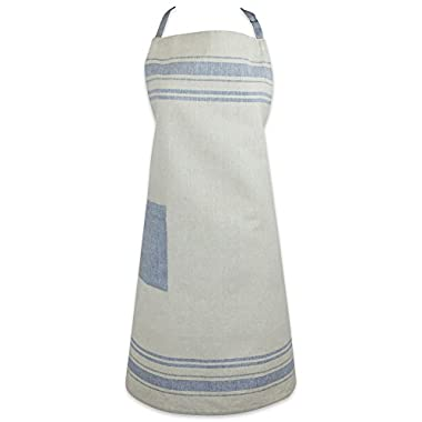 DII Cotton French Stripe Kitchen Chef Apron with pocket and Extra-Long Ties, 33 x 28  French Country Farmhouse Men & Women Apron for Cooking, Baking, BBQ-Nautical Blue