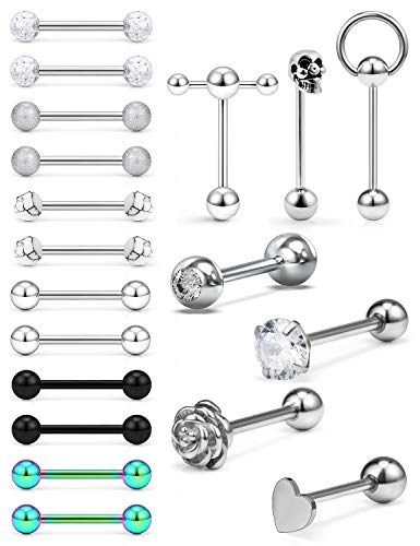 Boernfnso Tongue Rings for Women 14G Surgical Grade 316L Stainless Steel Tongue Rings Skull Plastic Door Knocker Acrylic Diamonds Glittering Tongue Rings Tongue Piercing Jewelry Silver Tone