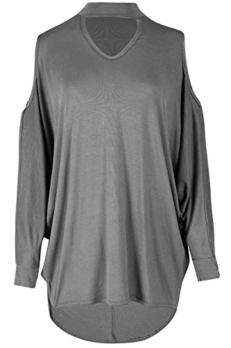 Be Jealous Womens Cold Shoulder Keyhole Oversized Hi Lo Top Grey M/L (UK 12/14)