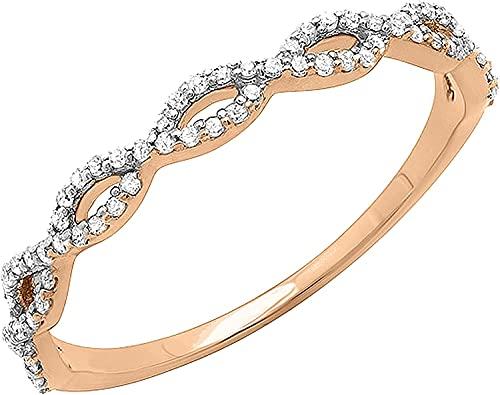 0.20 quilates, blanco natural, corte redondo, remolino, apilable, aniversario, anillos de alianza de boda para mujeres engastados en oro blanco sólido de 14k (claridad I2, color HI) (tamaño 57)