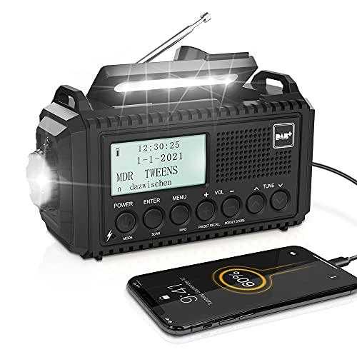 DAB/DAB+/UKW Digitalradio mit Eingebaute 5000mAh Akku Solar Radio Notfallradio mit USB Handyladefunktion Camping Radio mit LED Taschenlampe Leselampe SOS Alarm Tragbares Kurbelradio für Outdoor