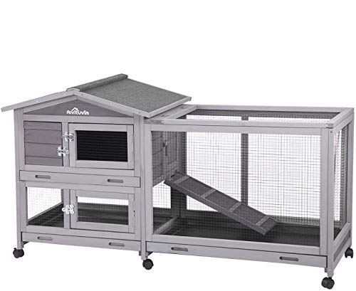 Aivituvin Rabbit Hutch Indoor and Outdoor 62' Bunny Cage on Wheels with 3 Deep No Leakage Pull Out Tray,Waterproof Roof (Grey)
