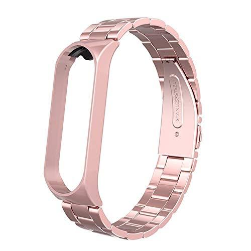 NCCZ Correa de Metal, Adecuada para la Banda Xiao MI, Compatible con Xiao MI Band 3/4, Correa de muñeca de reemplazo de Acero Inoxidable, Caja de Metal, Duradero (Color : Rose Pink)