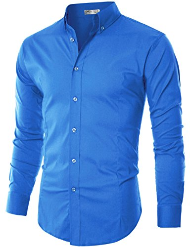 Ohoo Mens Slim Fit Long Sleeve Flexibility Casual Button Down Shirt Added Darts/DCC003-COBALTBLUE-2XL/US XL