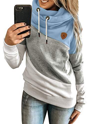 Happy Sailed Damen Warm Rollkragen Kapuzenpullover Farbblock Pullover Sweatshirt Casual Hoodie Shirt, 1blau, M