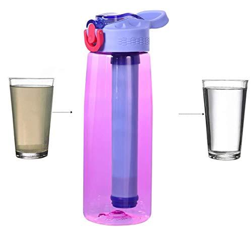 Tragbare Wasserfilter-Flasche - Filtrierende Notfall mit 2-Stufigem Integriertem Filter-Strohhalm für Wandern, Rucksackreisen und Reisen Abenteuer Camping Outdooraktivitäten Täglichen Gebrauch (Pink)