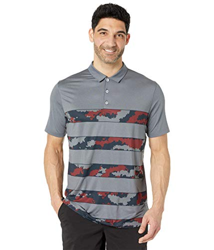 PUMA Golf Men's Mattr Volition Ghillie Polo, Quiet Shade Heather-High Risk Red, Double Extra Large