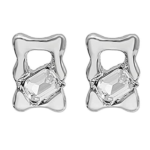 Uniqueheart Pendientes de Mujer Geometría con Incrustaciones de circón Pendientes delicados y Elegantes Pendientes Colgantes Pendientes de botón Joyas de Oreja - Plata