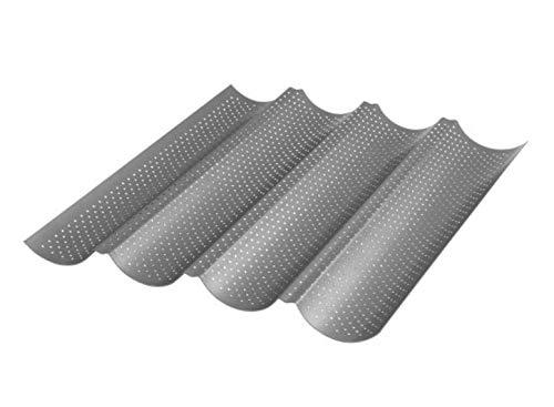 Meinposten Baguette Baguetteform Back-Blech für bis zu 4 Baguettes antihaft beschichetet
