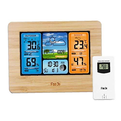 Funkwetterstation Außensensor Digital Color Vorhersage Wetterstation Wecker/Barometer/Temperatur/Feuchte-Monitor Wettervorhersage