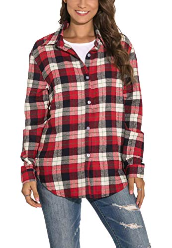 GUANYY Women's Long Sleeve Casual Loose Classic Plaid Button Down Shirt (Red, X-Large)