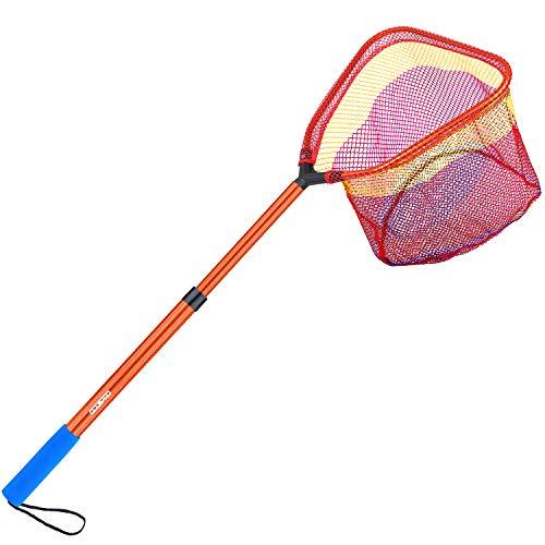 ODDSPRO Kinder Angelnetz mit Teleskopstange Griff – leichtes Aluminium und Nylon Kescher zum Fangen und Lösen oder Schmetterlingsnetz, Orange 1 Packung