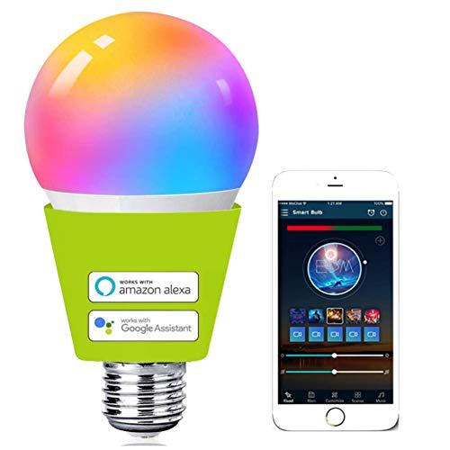 "WFBP Bombilla Inteligente-WiFi 2.4Ghz–Colores RGBW Ajustable–Casquillo E27–Consumo 7W 9W 12W 550lúmenes, Compatible con Amazon Alexa y Google Assistant–Control Remoto con App "" Smart Life """