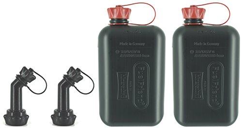 FuelFriend®-Big max. 2,0 Liter - Klein-Benzinkanister Mini-Reservekanister mit UN-Zulassung + verschließbares Auslaufrohr - im Doppelpack