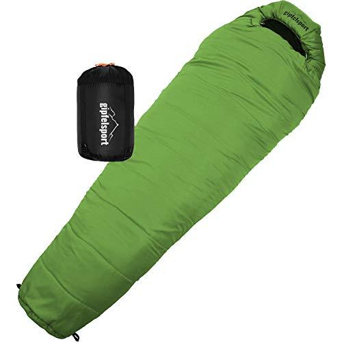 gipfelsport Mumienschlafsack - Outdoor Schlafsack für Erwachsene und Kinder | Mini Sleeping Bag für Winter, grün