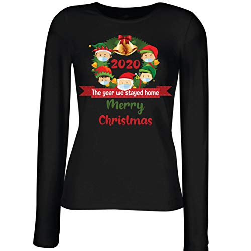 lepni.me Damen T-Shirt Merry Christmas in Quarantäne 2021 Stay at Home Together for Xmas Holidays Gr. XXL, Farbe: Schwarz