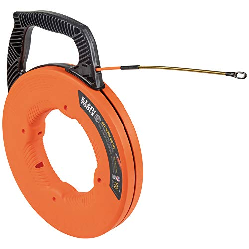 Klein Tools 56380 Fish Tape, Multi-Groove Fiberglass Wire Puller with Spiral Steel Leader, Optimized Housing and Handle, 100-Foot x 0.182-Inch
