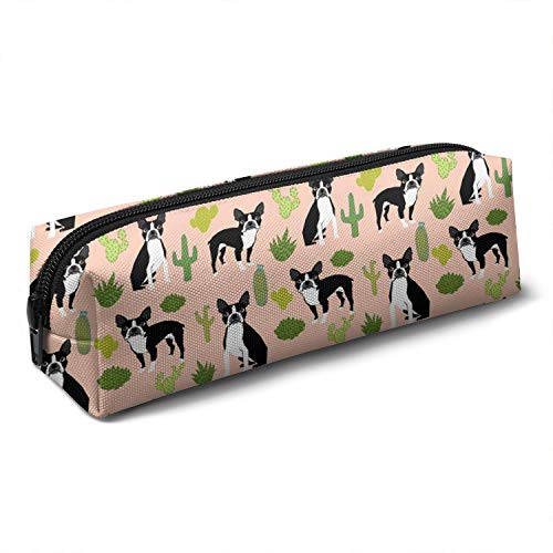 Boston Terrier Dogs Cactus Cute Colorful Multifunctional Canvas Pencil Bag, Various Patterns