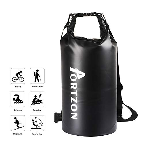 Portzon Waterproof Dry Bag Backpack, 20L Roll Top Stuff Sack with Handle Shoulder Straps for Kayaking, Boating, Swimming, Camping, Hiking, Fishing, Floating, Rafting.