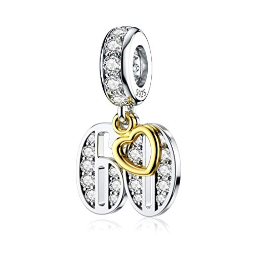 JIAYIQI 60th Birthday Charm for Pandora Charm Bracelets, Happy Birthday Charms for Bracelet and Necklace,925 Sterling Silver Bead Openwork Charms for Women Gift