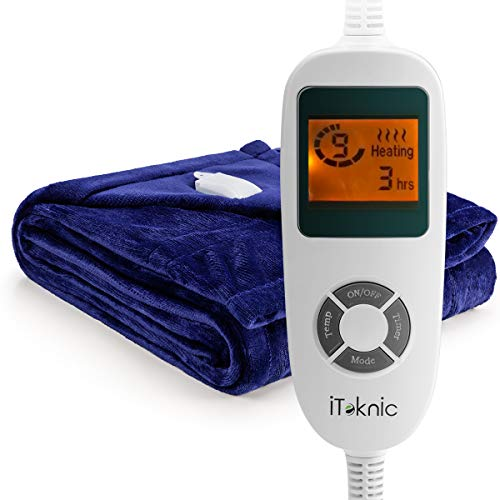 "iTeknic Electric Blanket Heated Throw with Fast Heating Technology, 10 Temperature Settings, Overheating Protection and Auto Shut Off 60""x 50"" (Royal Blue)-Washable Heated Blanket"