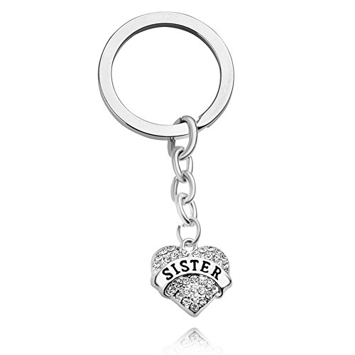Sister Gifts Big Middle Little Sister Love Heart Pendant Key Chain Ring Family Member Jewelry Gift for Sister