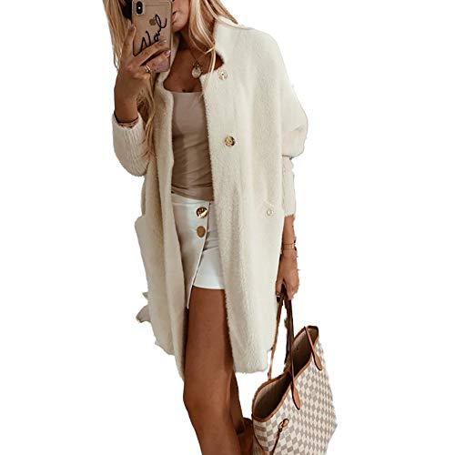 Techwills Bluzki damskie na co dzień z długim rękawem okrągły dekolt kieszeń otwarta z przodu zapinana na guziki puszyste kardigan topy bluza damska modna koszula dziewczyny prezent na wiosnę lato (XL)