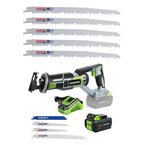WORKPRO Cordless Reciprocating Saw, 20V 4.0Ah Battery&5-Piece 9-Inch Wood Pruning Reciprocating Saw Blade Set