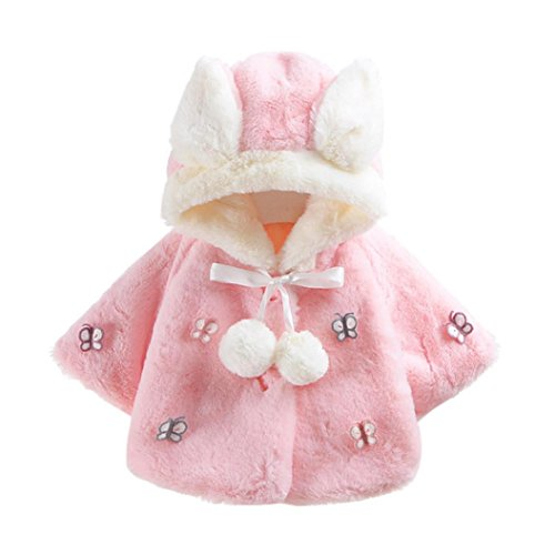 Hirolan Butterfly Kindermode Baby Säugling Mit Kapuze Mantel Herbst Winter Mantel Rosa Jacke Dick Warm Kleider Mode Weiß Oberbekleidung 1/3 Hülse (M, Rosa)