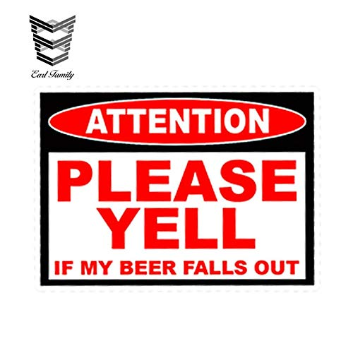 PJYGNK Sticker de Carro 13cm x 11cm Estilo de Coche Cerveza Divertida caída Pegatina de Advertencia calcomanía camión Coche vehículo SxS 4x4 ATV Accesorios de Parachoques
